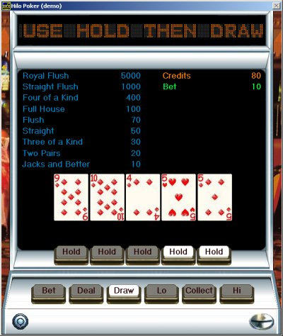 Video poker PC card game Hilo-Poker version 3