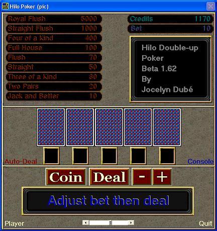 Hilo-Poker - Hilo-Poker is a hilo double-up poker machine.